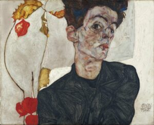 Self Portrait with Physalis (1912) di Egon Schiele